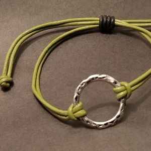 Jewelry - Adjustable Genuine leather cord w/circle bracelet